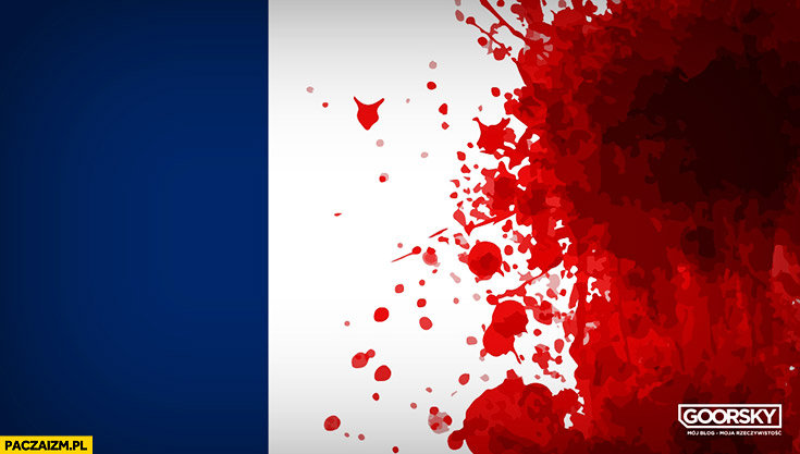 Flaga Francji czerwony kolor we krwi zamach terrorystyczny Goorsky