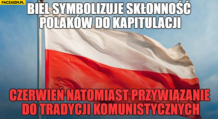 Flaga Polski biel symbolizuje skłonność Polaków do kapitulacji, czerwień przywiązanie do tradycji komunistycznych