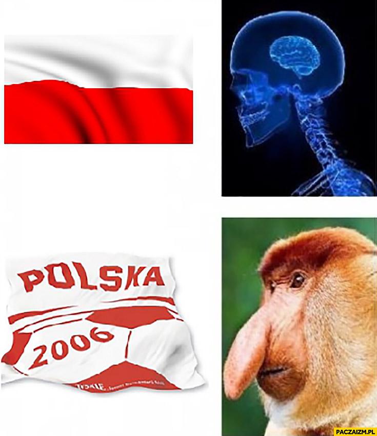 Flaga polski piłkarska Polska 2006 typowy Polak nosacz mem mózg