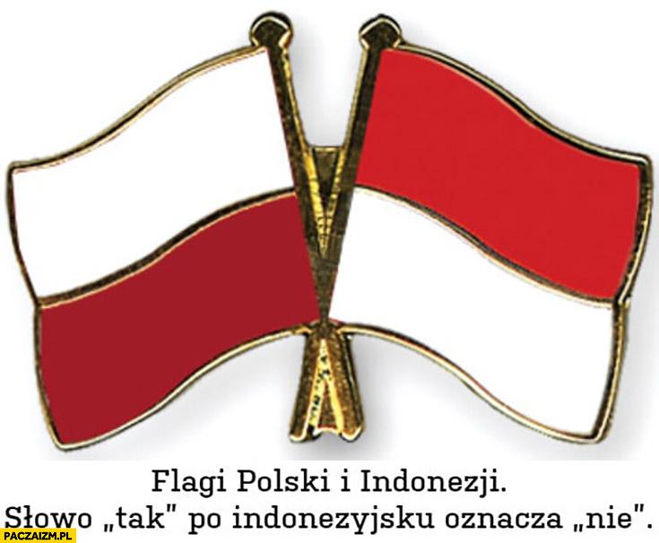 Flagi Polski i Indonezji słowo tak po indonezyjsku oznacza nie