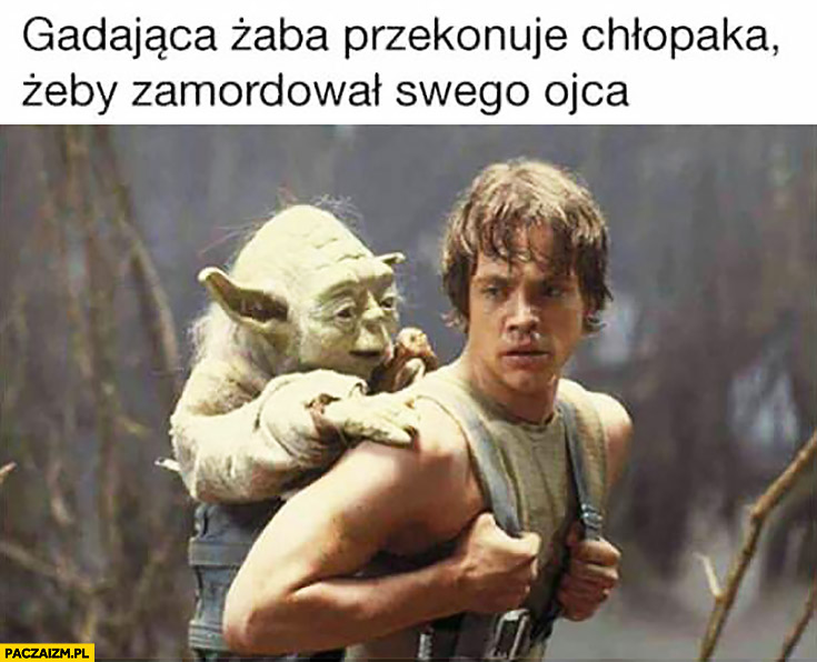 Gadająca żaba przekonuje chłopaka żeby zamordował swego ojca Yoda Luke Skywalker Gwiezdne Wojny Star Wars