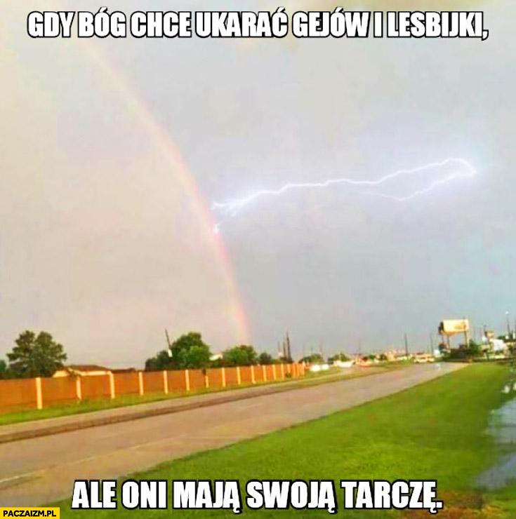 Gdy Bóg chce ukarać gejów i lesbijki, ale oni maja swoja tarczę piorun tęcza