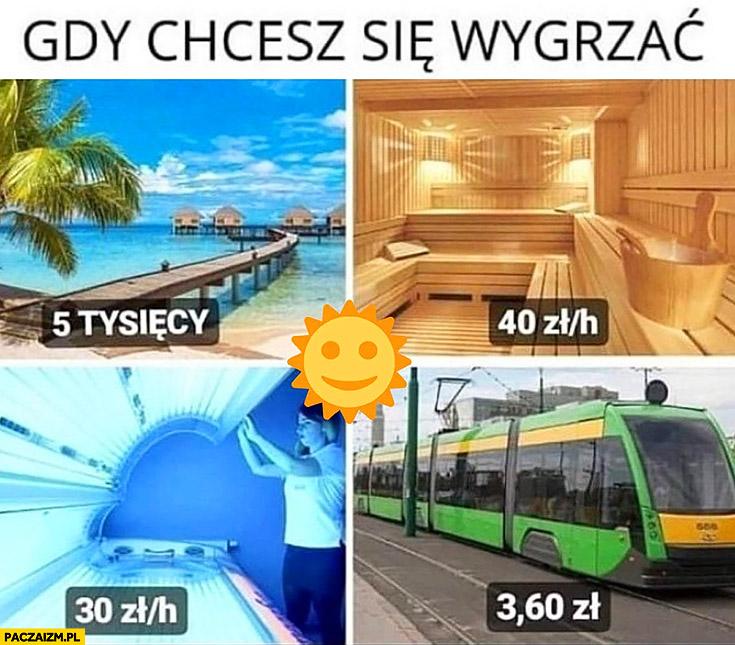 Gdy chcesz się wygrzać: wakacje 5 tysięcy, solarium 40 zł, sauna 30 zł, bilet komunikacji miejskiej 3 zł