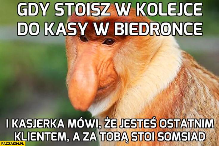 Gdy stoisz w kolejce do kasy w Biedronce i kasjerka mówi, że jesteś ostatnim klientem a za Tobą stoi sąsiad typowy Polak nosacz małpa