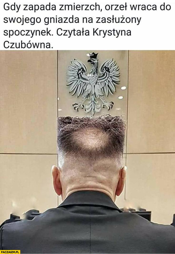 Gdy zapada zmierzch orzeł wraca do swojego gniazda na zasłużony spoczynek czytała Krystyna Czubówna Rutkowski fryzura głowa