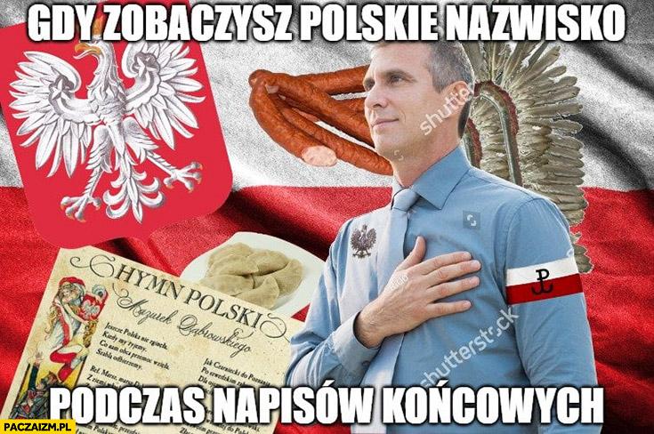 Gdy zobaczysz polskie nazwisko podczas napisów końcowych filmu Polak