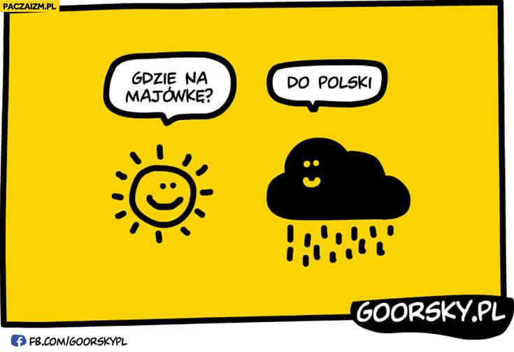 Gdzie na majówkę? Do Polski chmura deszcz zła pogoda Goorsky
