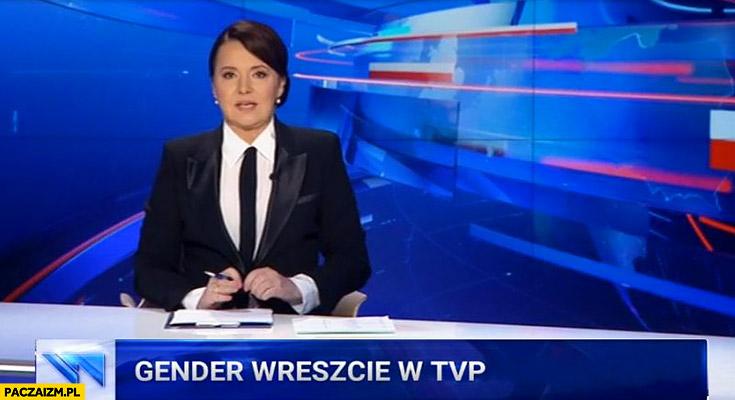 Gender wreszcie w TVP Holecka w garniturze przebrana za Kaczyńskiego Wiadomości TVP
