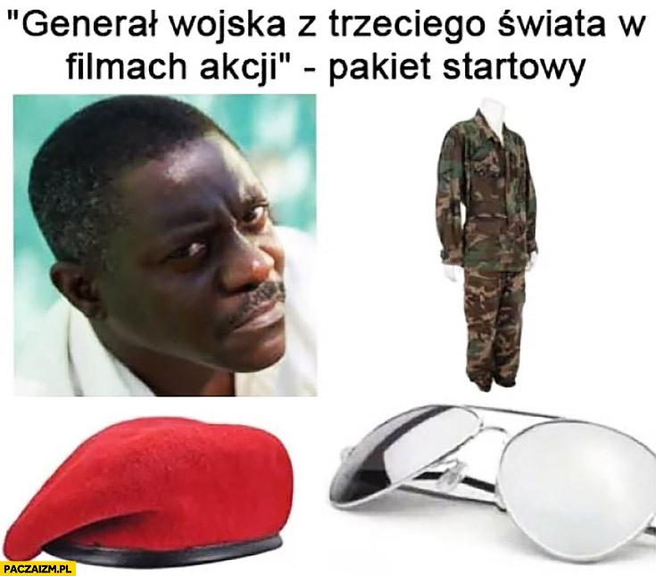 Generał wojska z trzeciego świata w filmach akcji pakiet startowy beret mundur okulary murzyn
