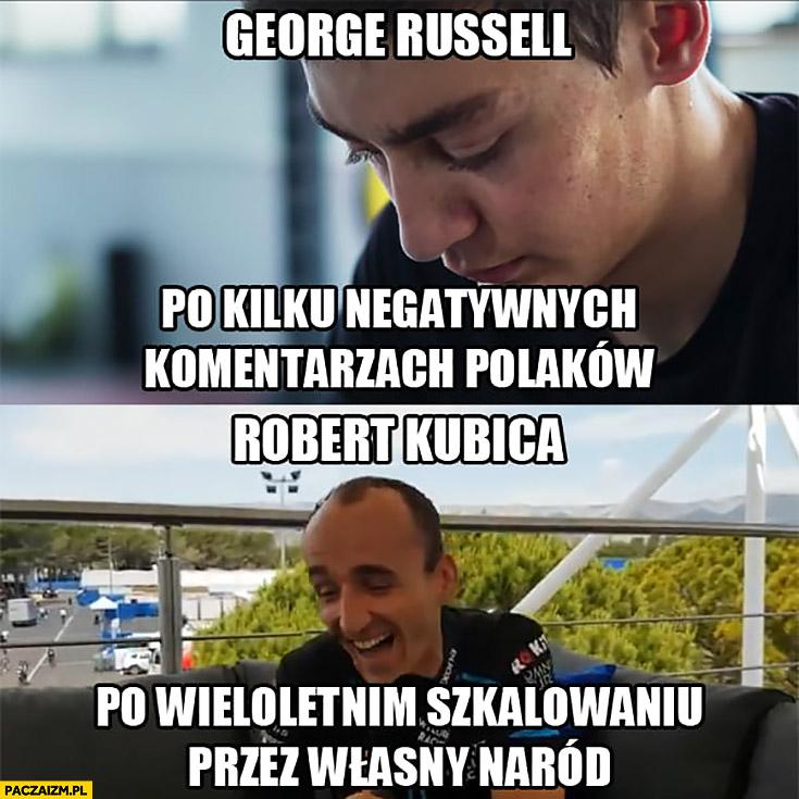 George Russell po kilku negatywnych komentarzach Polaków vs Robert Kubica po wieloletnim szkalowaniu przez własny naród