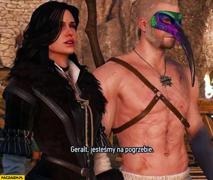 Geralt jesteśmy na pogrzebie maska karnawałowa Wiedźmin