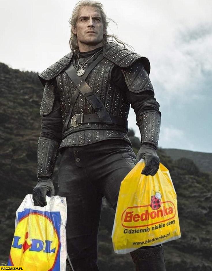 Geralt Wiedźmin torby reklamówki Biedronka Lidl przeróbka photoshop