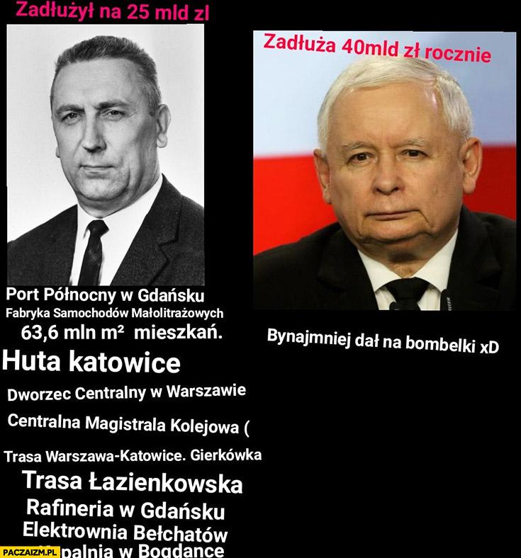 Gierek zadłużył Polskę na 25 mld zł Kaczyński zadłuża na 40 mld zł rocznie porównanie