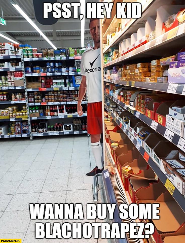 Glik reklama stand w sklepie: Psst dzieciaku nie chcesz kupić blachotrapezu?