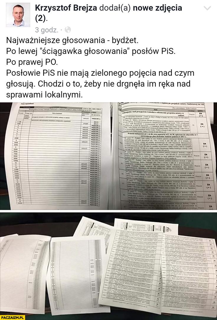 Głosowanie w sejmie budżet posłowie PiS nie maja zielonego pojęcia nad czym głosują pusta ściągawka Krzysztof Brejza Prawo i Sprawiedliwość