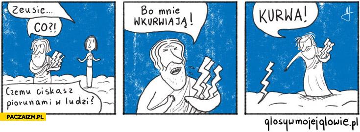 Glosywmojejglowie Zeus czemu ciskasz piorunami w ludzi bo mnie wkurwiaja