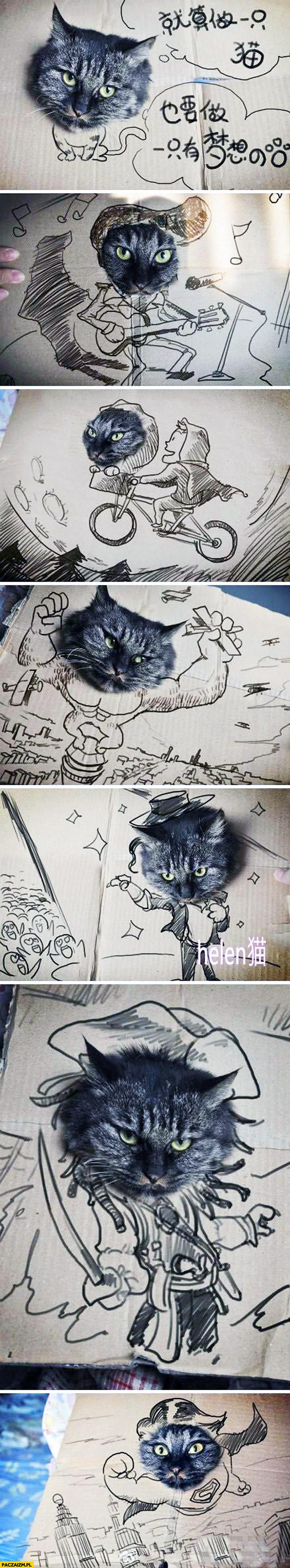 Głowa kota wystająca z kartonu rysunki