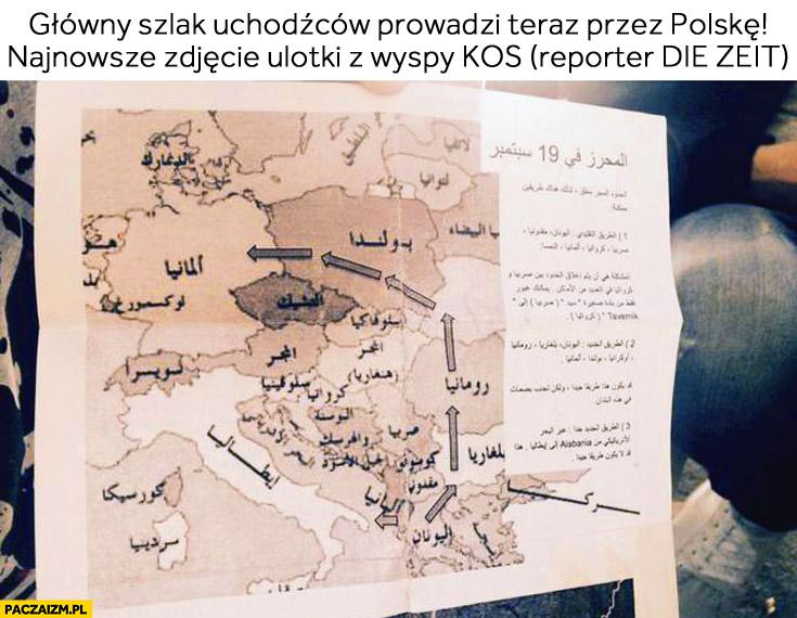 Główny szlak uchodźców prowadzi teraz przez Polskę mapa ulotka z wyspy Kos