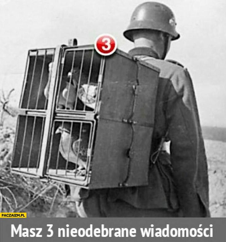 Gołąb pocztowy w klatce na plecach żołnierza masz 3 nieodebrane wiadomości
