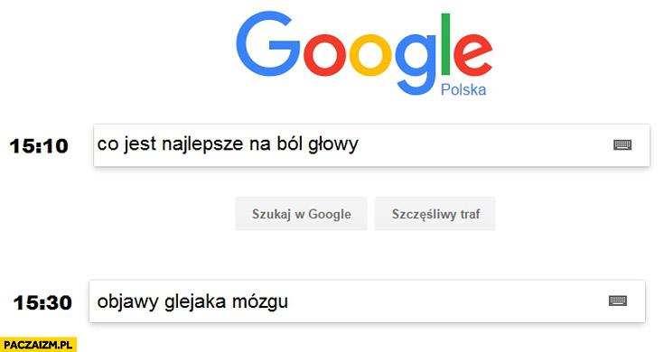 Google co jest najlepsze na ból głowy, chwilę później objawy glejaka mózgu
