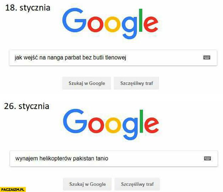 Google jak wejść na Nanga Parbat bez butli tlenowej później wynajem helikopterów Pakistan tanio