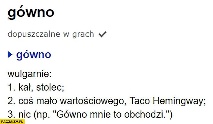Gówno Taco Hemingway definicja słownik języka polskiego sjp