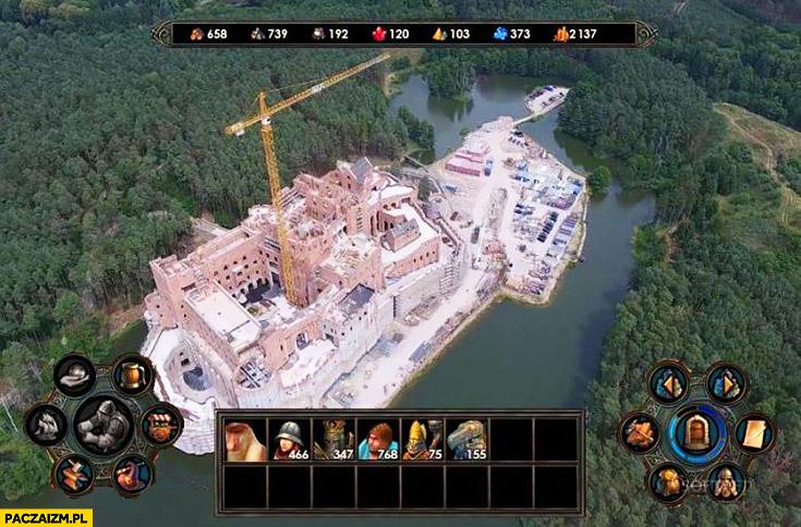 Gra budowa zamku na jeziorze w puszczy Noteckiej przeróbka photoshop