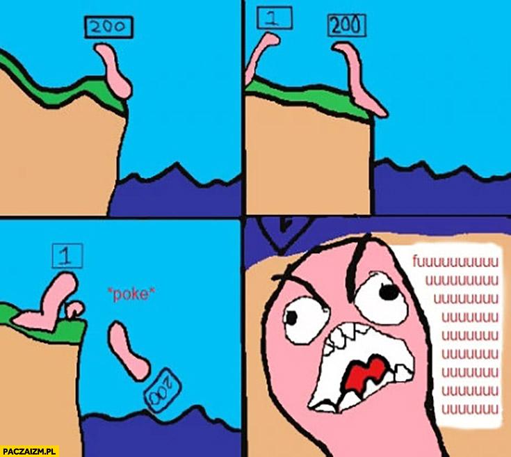Gra w Wormsy poke spada z urwiska komiks