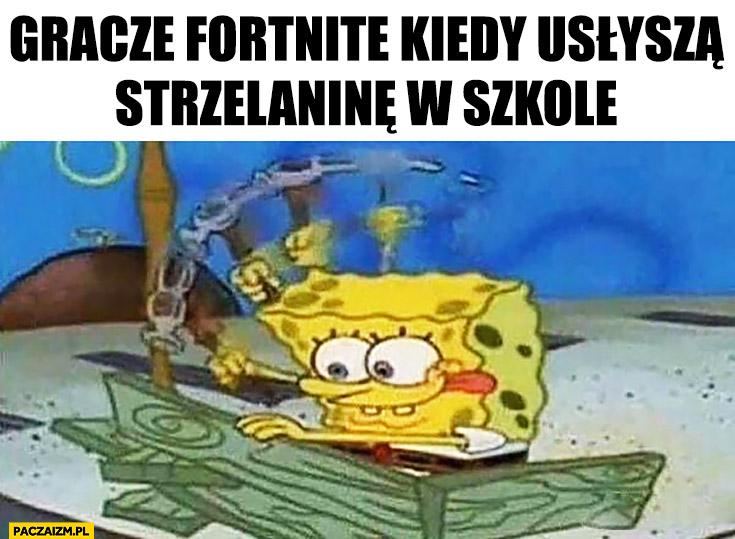 Gracze Fortnite kiedy usłyszą strzelaninę w szkole Spongebob