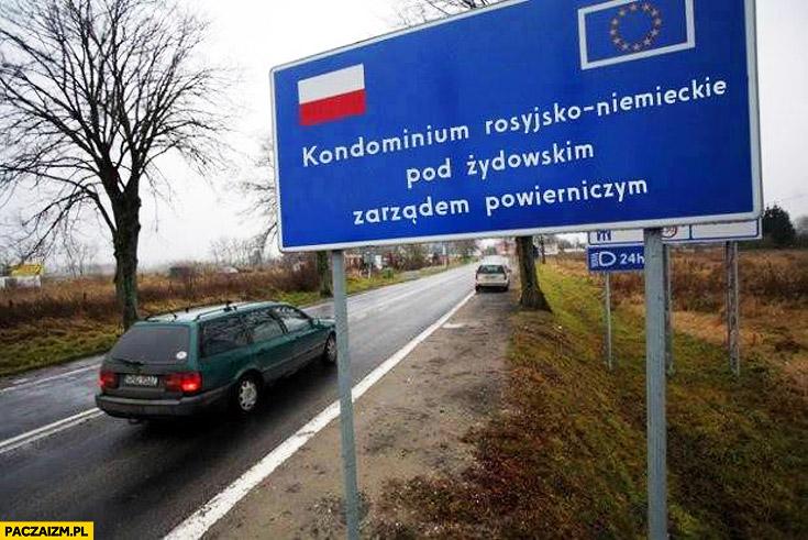 Granica kraju tablica kondominium rosyjsko-niemieckie pod żydowskim zarządem powierniczym