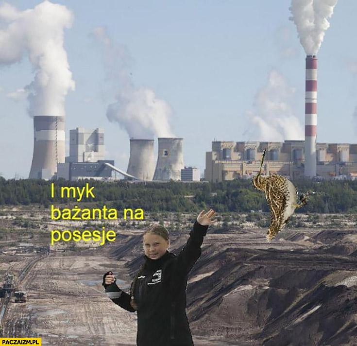 Greta Thunberg elektrownia Bełchatów i myk bażanta na posesję Kapitan Bomba