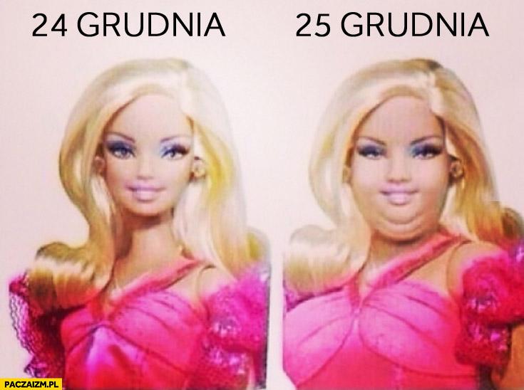Grudzień 24 25 grudnia gruba Barbie