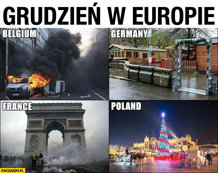 Grudzień w Europie Belgia Niemcy Francja Polska porównanie
