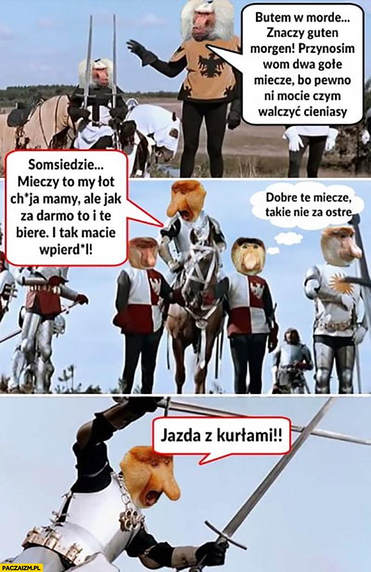 Grunwald Polak nosacz 2 miecze jazda z kurłami