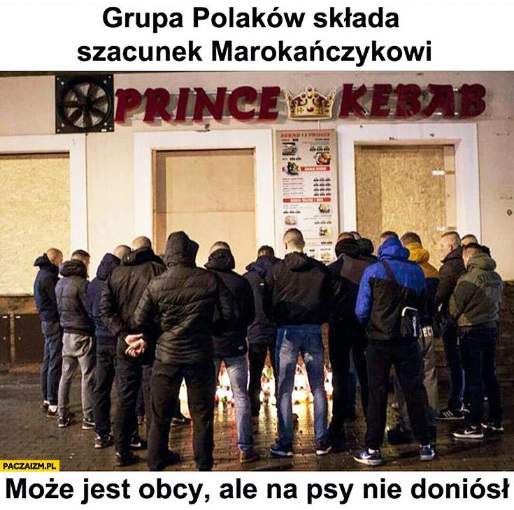 Grupa Polaków składa szacunek Marokańczykowi. Może jest obcy ale na psy nie doniósł Prince Kebab Ełk
