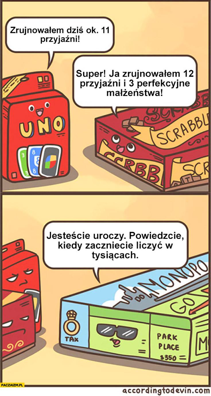 Gry planszowe: Uno, Scrabble, Monopoly, Eurobiznes zrujnowałem dziś 11 przyjaźni, ja 12 i 3 perfekcyjne małżeństwa, powiedzcie kiedy zaczniecie liczyć w tysiącach