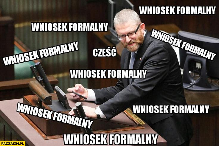 Grzegorz Braun w sejmie ciągle zgłasza wniosek formalny