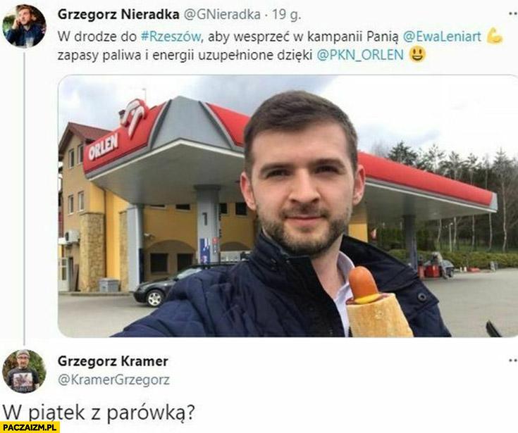Grzegorz Nieradka Orlen hotdog ksiądz Kramer w piątek z parówką?