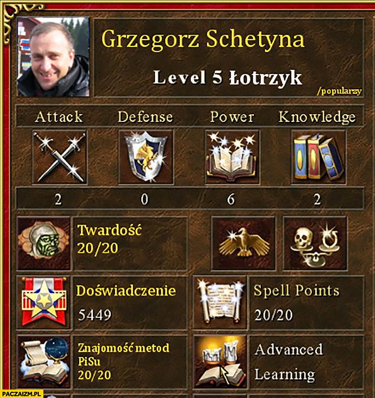 Grzegorz Schetyna level 5 łotrzyk twardość, znajomość metod PiSu postać bohater Heroes of Might and Magic