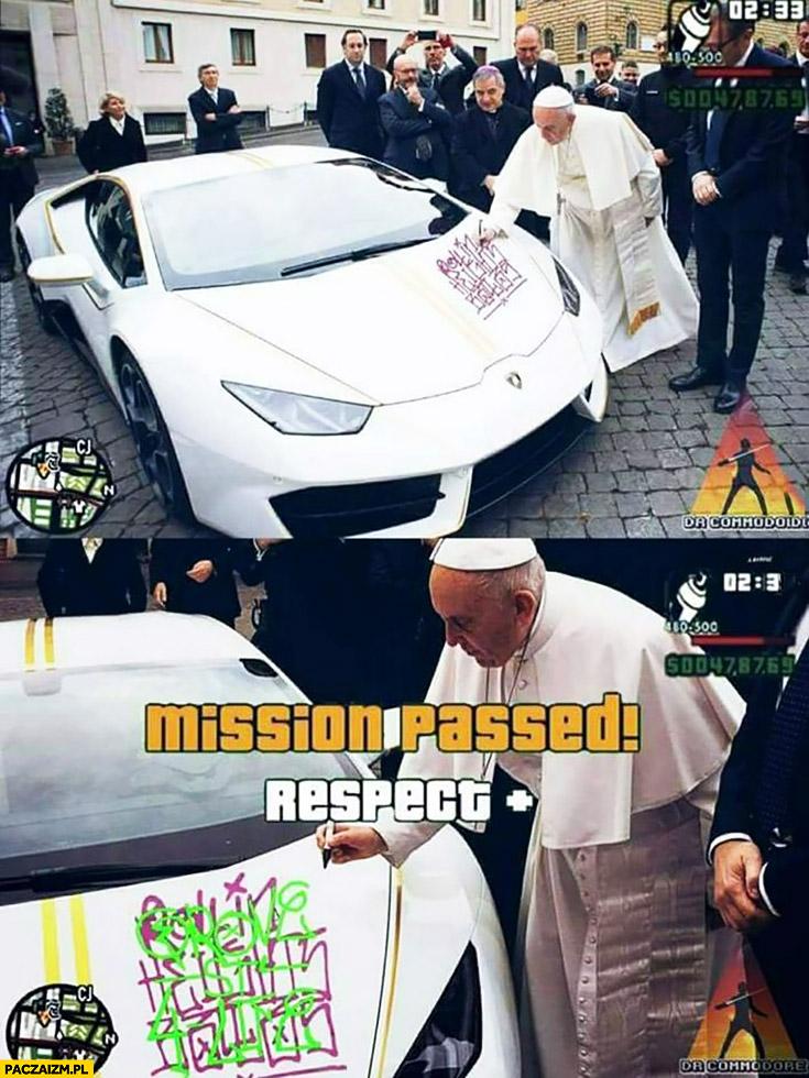 GTA Grand Theft Auto papież podpisuje Lamborghini mission passed respect plus