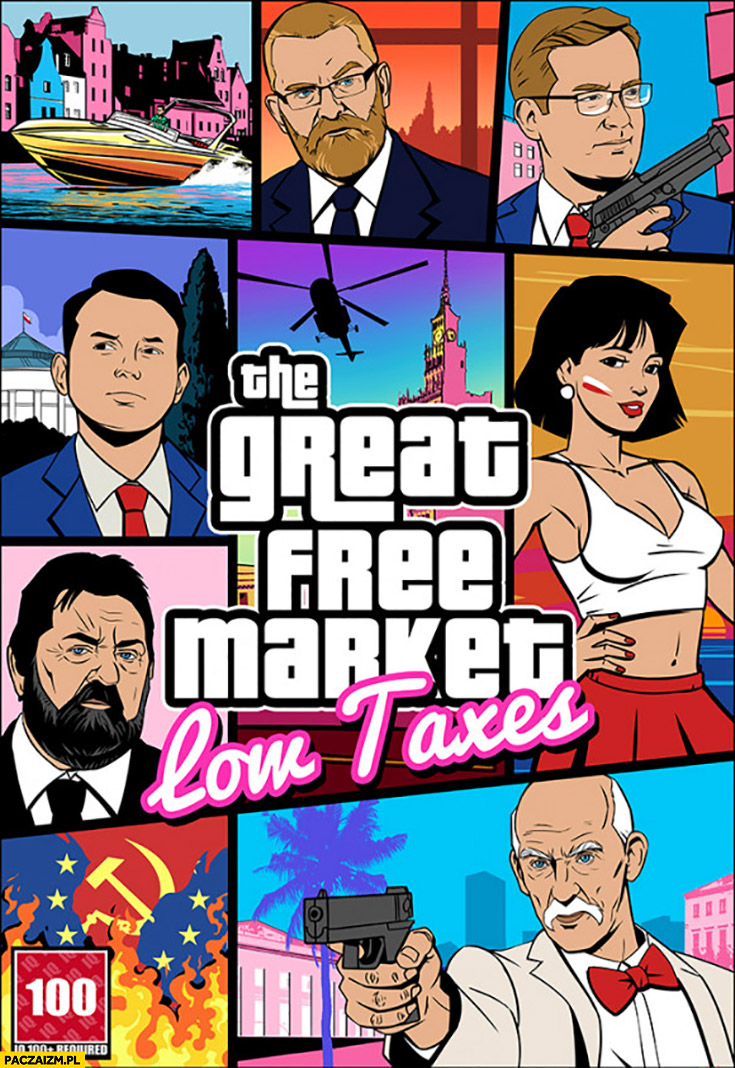 GTA wolny rynek konfederacja great free market low taxes grand theft auto okładka