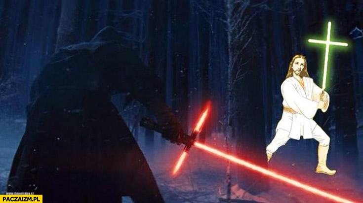 Gwiezdne wojny krzyż miecz świetlny
