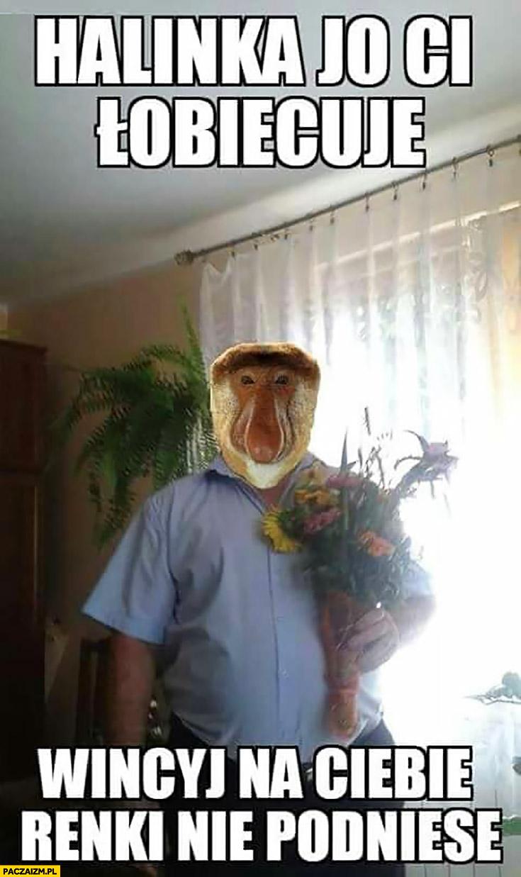 Halinka obiecuję Ci więcej na Ciebie ręki nie podniosę typowy Polak nosacz małpa