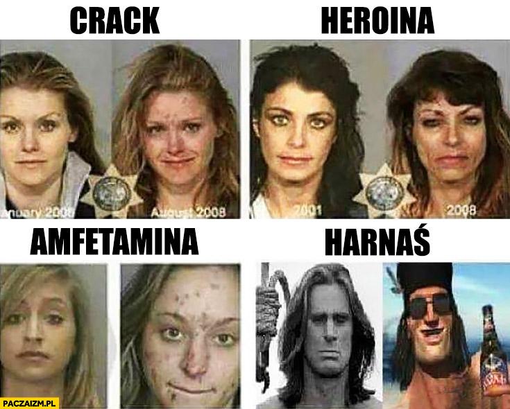 Harnaś, Crack, Heroina, Amfetamina porównanie używek narkotyków