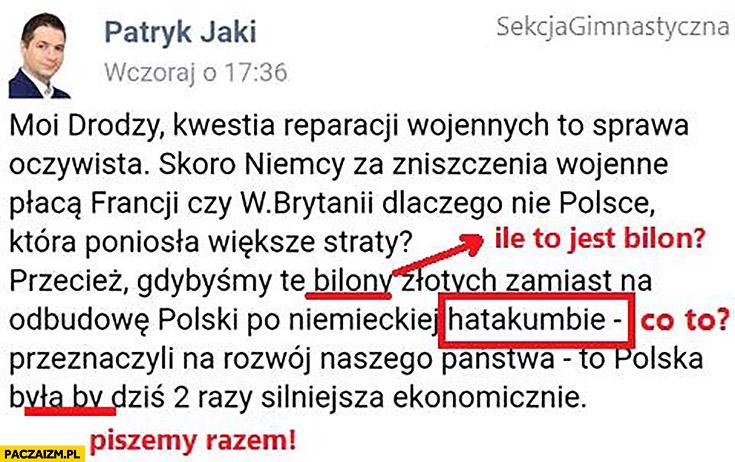 Hatakumba Patryk Jaki na facebooku błędy ortograficzne