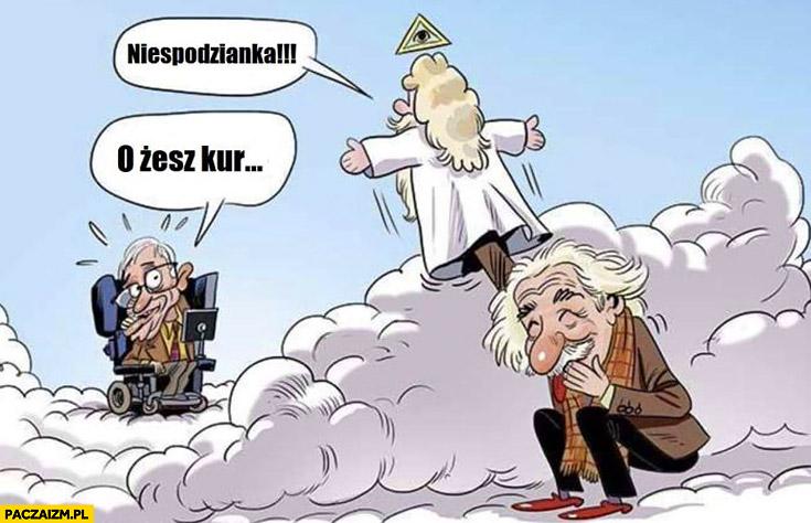 Hawking w niebie spotyka Boga Einstein kukiełka
