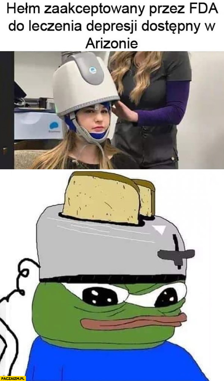Hełm do leczenia depresji toster na głowie żaba Pepe