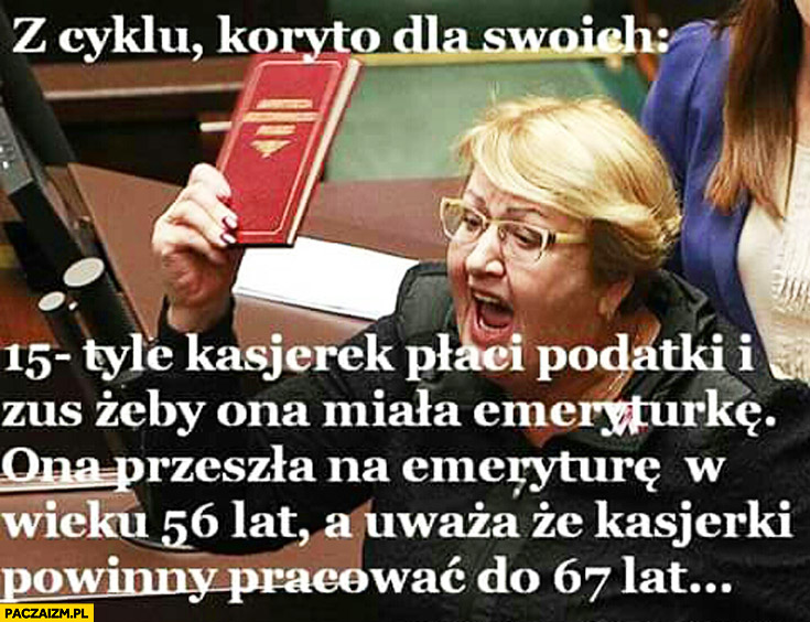 Henryka Krzywonos przeszła na emeryturę w wieku 56 lat, uważa że kasjerki powinny pracować 67 lat, 15 kasjerek płaci na nią