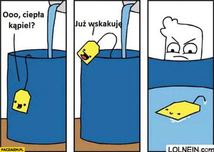 Herbata torebka o ciepła kąpiel zawieszka już wskakuje komiks