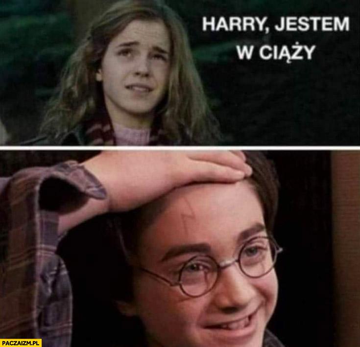 Hermiona Harry jestem w ciąży, Harry pokazuje piorun na czole